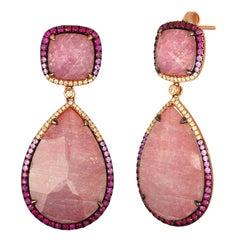 31.86 Carats Triplet Pink Sapphire MOP Rock Crystal Diamond Gold Drop Earrings