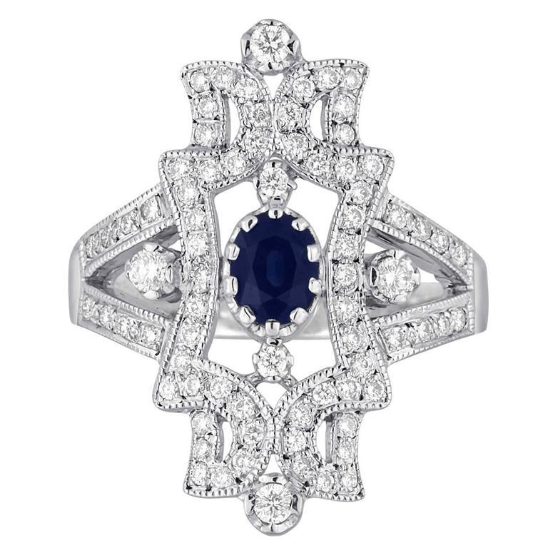 1.34 Carats Sapphire Diamond Gold Ring