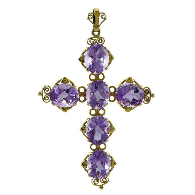Large Amethyst and Gold Cross
