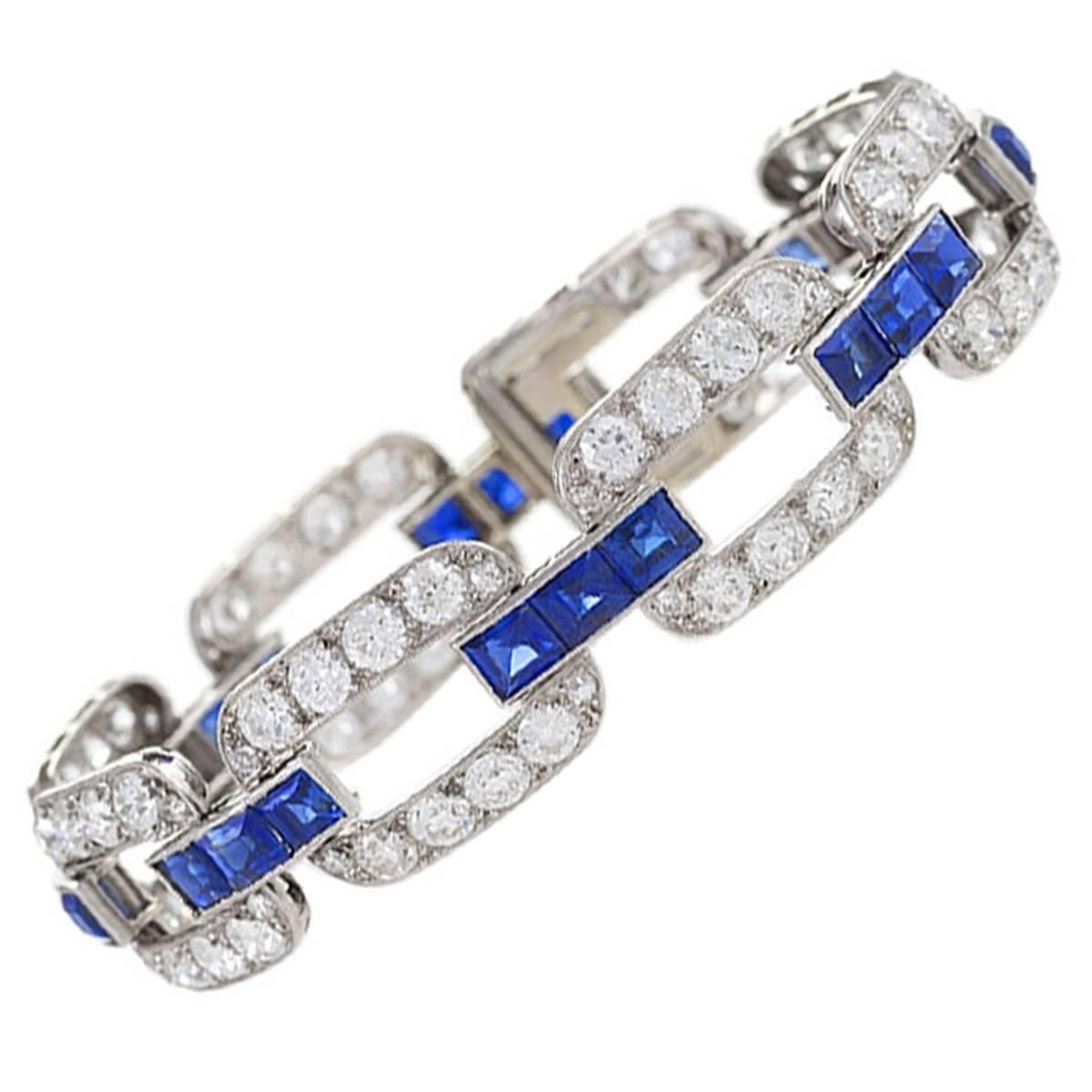 French 1930s Art Deco Sapphire Diamond Gold Platinum Link Bracelet