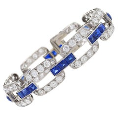 French 1930s Art Deco Sapphire Diamond Gold Platinum Link Bracelet