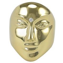Sonia B Diamond gold Mask Ring