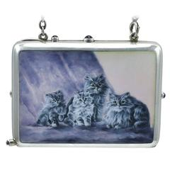 Antique Persian Cat Enamel & Silver Case
