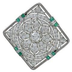 Gorgeous Art Deco Diamond Emerald Gold Platinum Pin