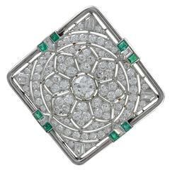 Gorgeous Art Deco Diamond Emerald Gold Platinum Pin