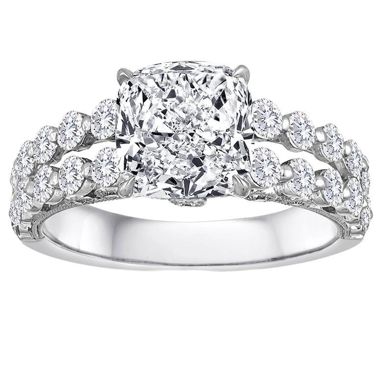 GIA Certified 3.04 Carat G VVS2 Cushion Cut Diamond 18K Engagement Ring