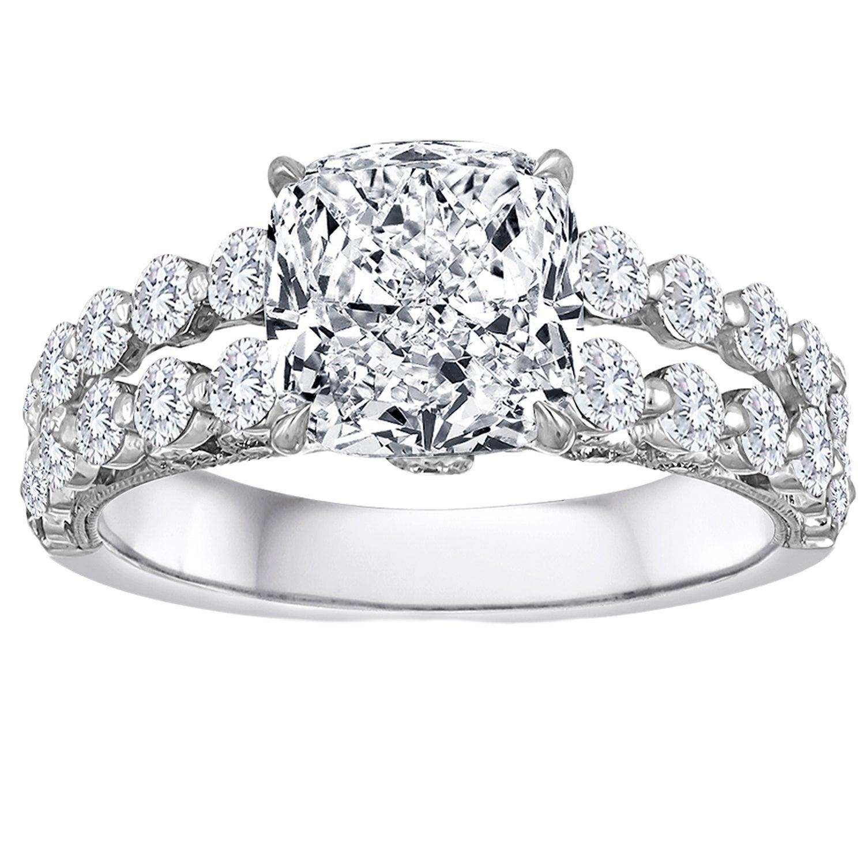 GIA Certified 3.04 Carat G VVS2 Cushion Cut Diamond 18 Karat Engagement Ring