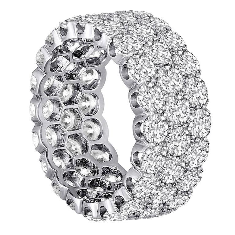 7.30 Carats Diamond Three Row Platinum Band Ring