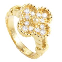 Van Cleef & Arpels Vintage Alhambra Yellow Gold Diamond Ring