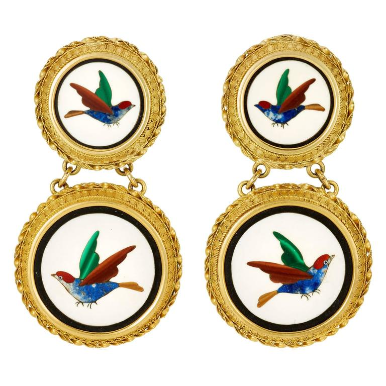 Past Era Etruscan Revival Gold Pietra Dura Bird Earrings