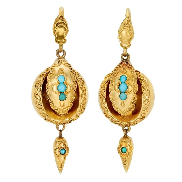 Victorian Turquoise Gold Drop Earrings