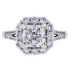 EGL Certified 1.61 Carat Cushion Cut Diamond Halo Engagement Ring