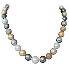 Multi-Color South Sea Pearl and Diamond Ball Necklace