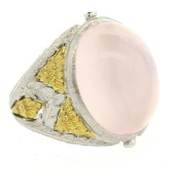 Buccellati Rose Quartz Cabochon Gold Dome Ring