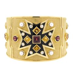 Important Verdura A Fulco Gold Pearl Diamond Gemstone Bangle Bracelet