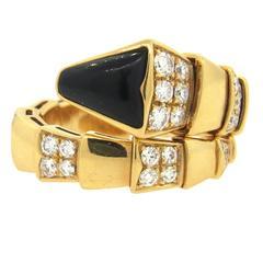 Bulgari Serpenti Gold Diamond Onyx Ring