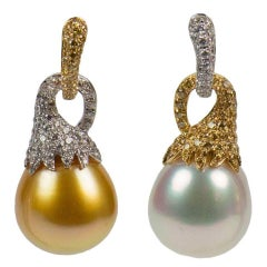 South Sea White and Golden Pearl Diamond 18K Gold Statement Heirloom Earrings
