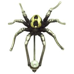Pearl Silver Gold Spider Brooch