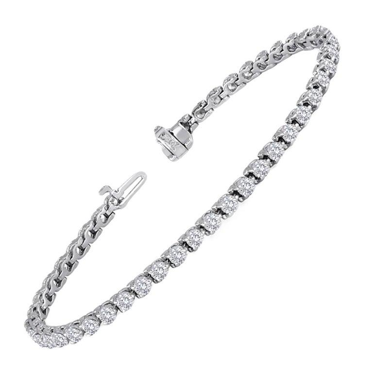 4.97 Carat Diamond Gold Tennis Bracelet For Sale