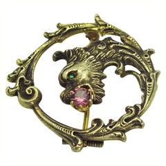 Rubellite Gold Dragon Pin