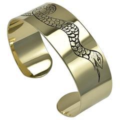 Unique Gold Serpent Bangle Bracelet