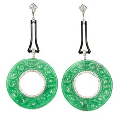 Jade Diamond Dangle Earrings
