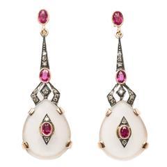 Rock Crystal Diamond Silver Gold Dangle Earrings