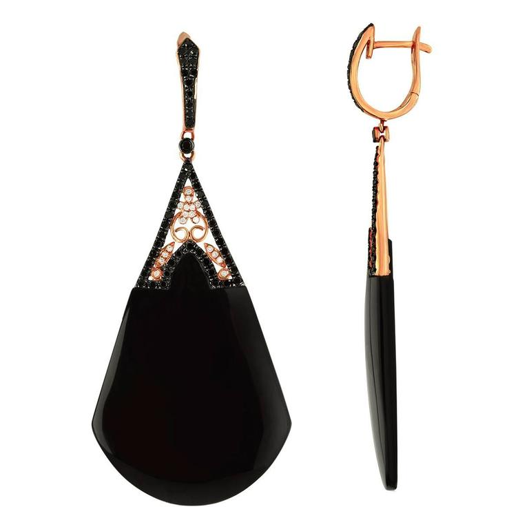 Black Onyx  Diamond Gold Earrings For Sale