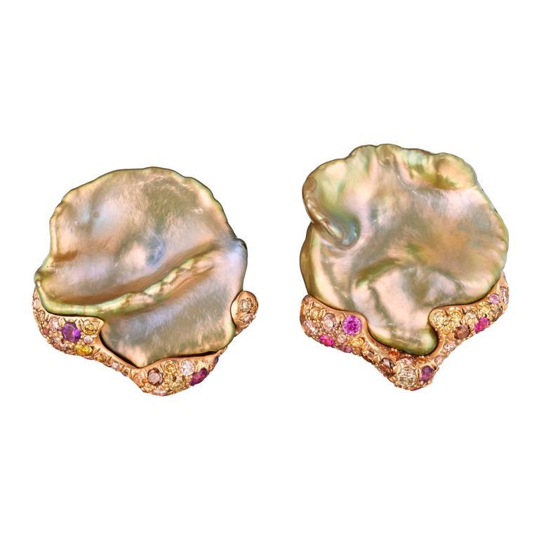 Naomi Sarna Freshwater Pearl Sapphire Amethyst Diamond Gold Earrings For Sale