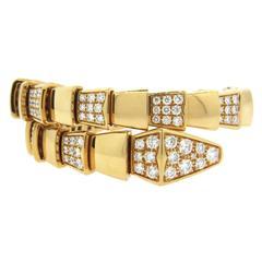 Impressive Bulgari Serpenti Diamond Gold Wrap Bracelet
