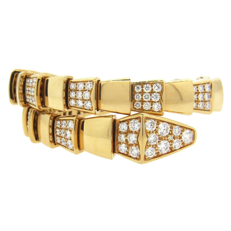 impressive bulgari serpenti diamond gold wrap bracelet for sale at 1stdibs