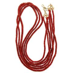 Valentin Magro Three Strands of Coral Roundels Necklace
