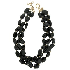 Black Spinel and Gold Bead Necklace