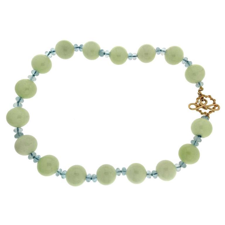 Chrysophrase Aquamarine Gold Necklace