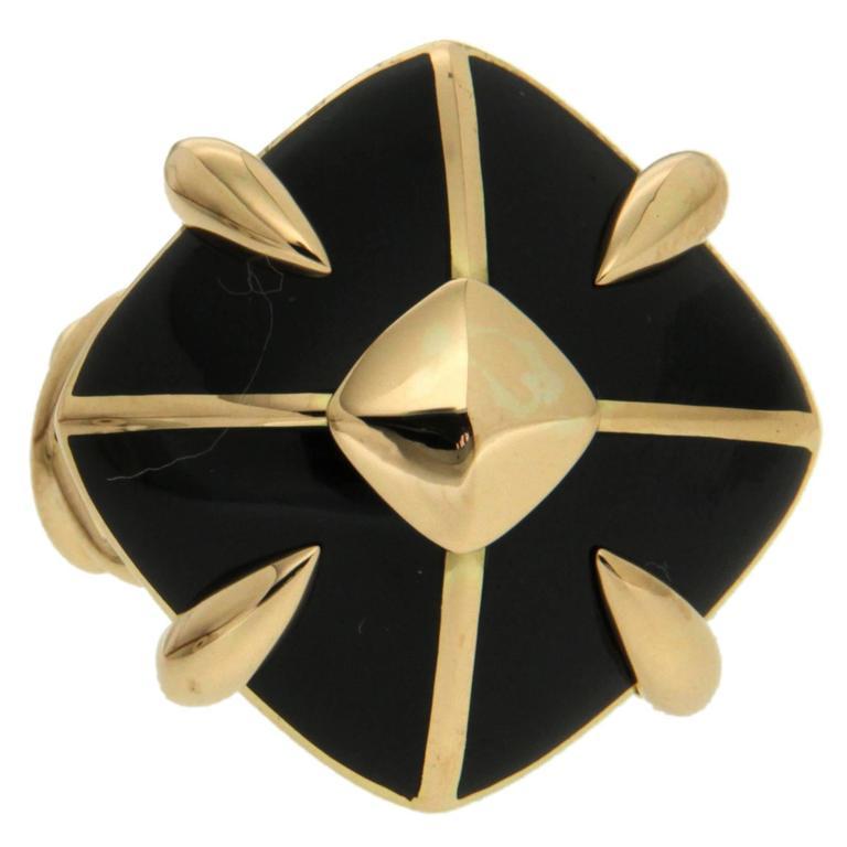 Cushion Black enamel ring