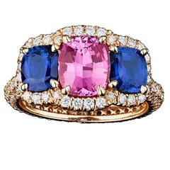 Untreated Blue and Pink Sapphire Diamond Gold Ring
