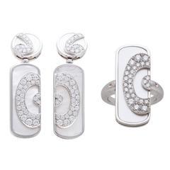 Bulgari BVLGARI Diamond and Mother of Pearl Ring and Earring Set