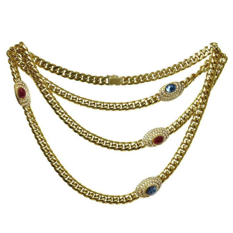 1980s Diamond Ruby Sapphire Yellow Gold Long Chain Necklace 1