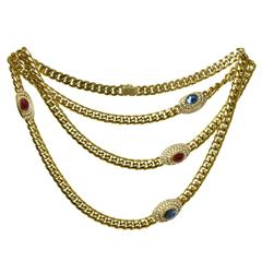 1980s Diamond Ruby Sapphire Yellow Gold Long Chain Necklace