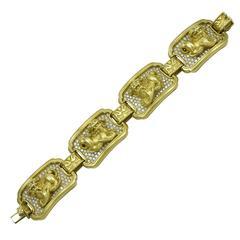 Rare Kieselstein Foo Dog Gold and Diamond Bracelet