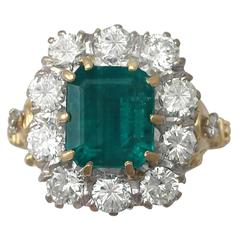 1950s 3.60 Carat Emerald & 1.85 Carat Diamond Yellow Gold Cocktail Ring