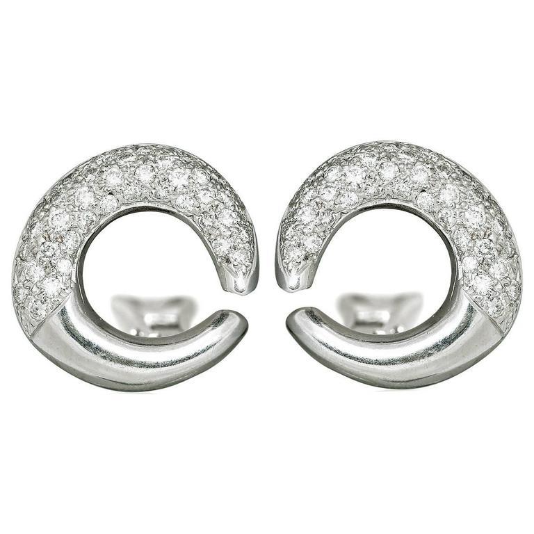 1.50 Carat Pave Diamond gold Hoop Earrings