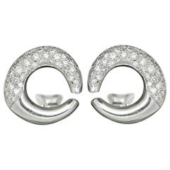 1.50 Carat Pave Diamond gold Hoop Earrings