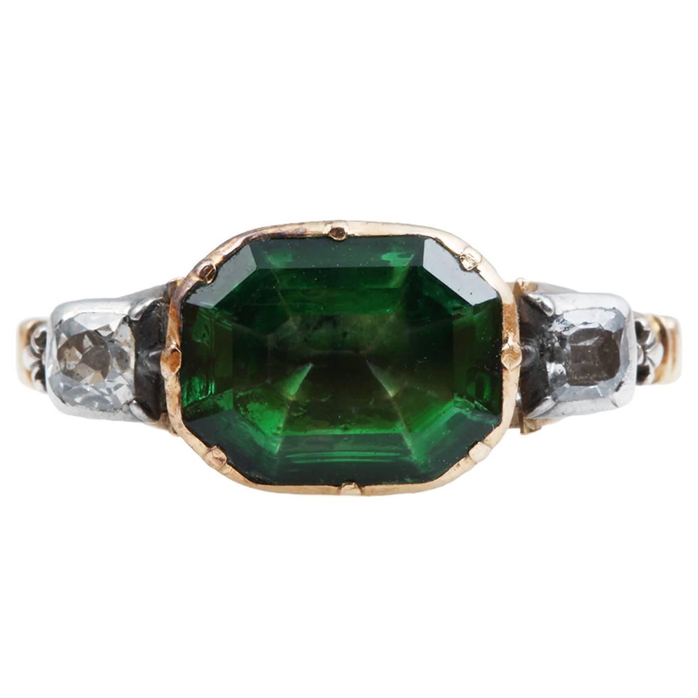 Georgian Three Stone Paste Emerald Ring At 1stdibs