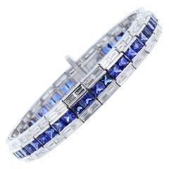 Sapphire Diamond Baguette Bracelet