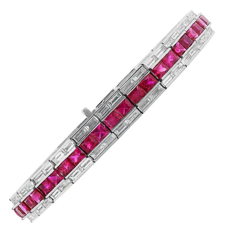 with product diamonds diamond platinium baguettes platinum set baguette cts bracelet en
