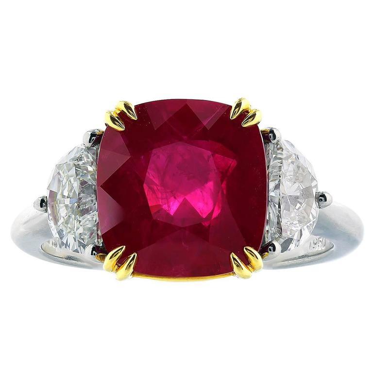 5.14 Carat Burma Ruby Diamond gold platinum Ring