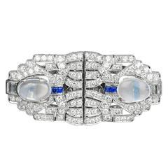 Art Deco Diamond, Sapphire and Moonstone Pin and Clip