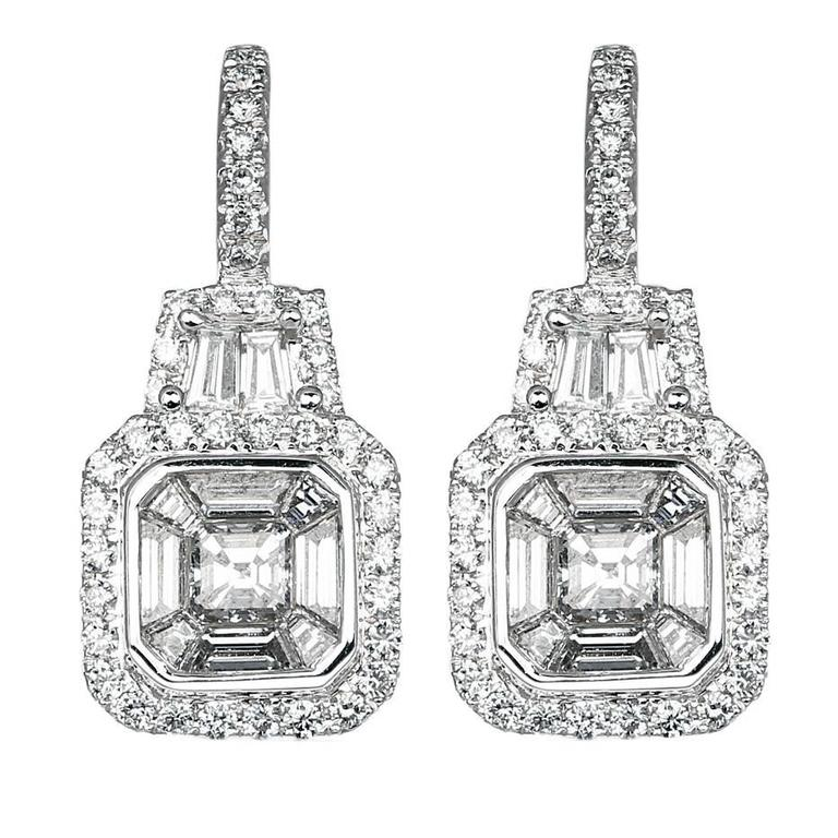 1.45 Carat Diamond Drop Earrings