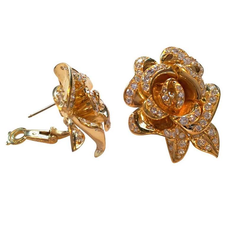Marchak Diamond Gold Rose Flower Earrings For